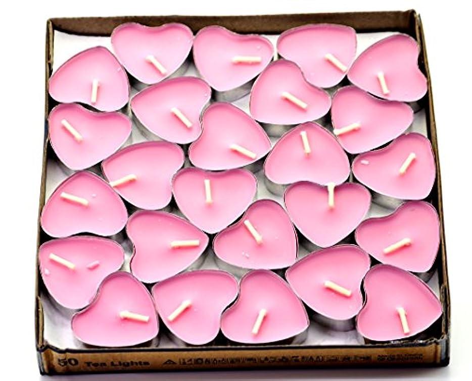 再現する物理クスクス(Pink(rose)) - Creationtop Scented Candles Tea Lights Mini Hearts Home Decor Aroma Candles Set of 50 pcs mini...