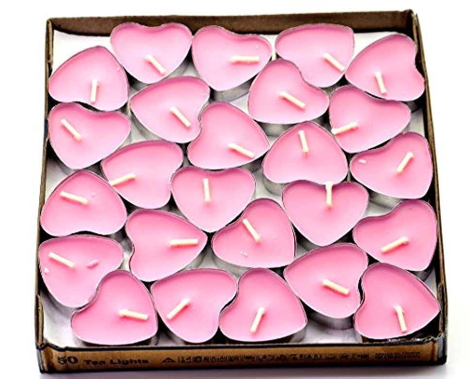 忘れるサンダース砲撃(Pink(rose)) - Creationtop Scented Candles Tea Lights Mini Hearts Home Decor Aroma Candles Set of 50 pcs mini...