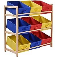 jaxpety Kids Toyストレージオーガナイザーボックス木製フレーム子供おもちゃストレージシェルフラック本棚整然寝室3 Tier with 9キャンバスビン