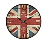 お洒落 ウォール クロック アンティーク 調 イギリス 国旗 ユニオンジャック アメリカ 国旗 星条旗 壁 掛け 時計 (02 イギリス)