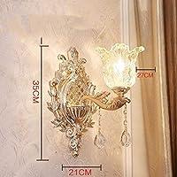 ヨーロッパスタイルの壁ラウンジで亜鉛合金ランプクリスタルジェイド寝室壁ランプベッドモダンフォイヤーライティング、2 (色 : 9)
