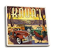 Kauai–Woodies on the beach with Rooster 4 Coaster Set LANT-77995-CT