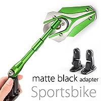 MAGAZI マガジ バイパー バイクミラー カウリングミラー フェアリングミラー 銀色と緑色 フェアリング取付 マットブラックのアダプター 一対