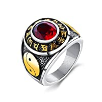 Rockyu ジュエリー 人気 ブランド メンズ リング ブラック アンティーク風 ステンレス 九字真言 刻印 指輪 20号