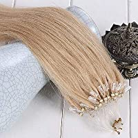 FidgetGear 50 / 100S容易なマイクロループシリコーンビーズのRemyの人間の毛髪延長16-26Inch #24金髪