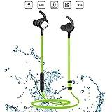 Eonfine ワイヤレス イヤホン Bluetooth 4.1 ワイヤレスヘッドセット スポーツイヤホン マグネット内蔵式ヘッドホン IPX6 防水 防汗 防滴 高音質 apt-X マイク内蔵 ハンズフリー通話(グリーン)