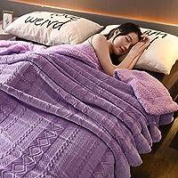 TopJiä 単色 フランネル 毛布, ふんわり ブランケット ふんわり 厚手毛布 ひざ掛け 厚手毛布-パープル 150x220cm