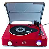 [GPOStylo]Retro 3-Speed Turntable Music Player with Built-in stereo Speaker for Vinyl Recoreds [GPOStylo]レトロ3スピードターンテーブル音楽プレーヤー、ビニールレコーディング用ステレオスピーカー内蔵 [並行輸入] (red)