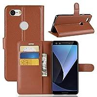 WTYD 電話アクセサリー Google Pixel 3用Litchi Texture横置きフリップレザーケース、財布&ホルダー&カードスロット付き (Color : Brown)