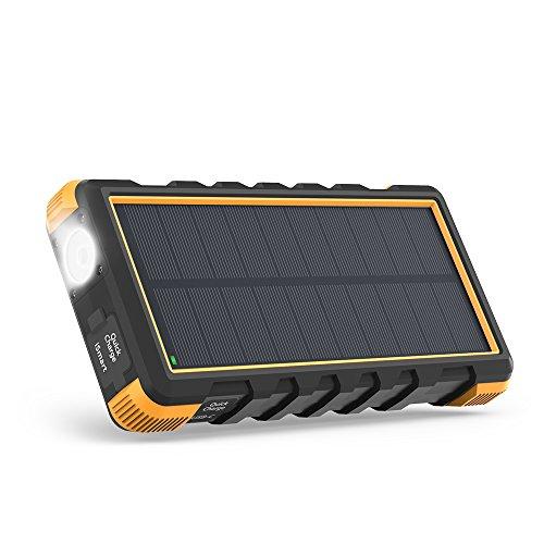 RAVPower ソーラーモバイルバッテリー 25000mAh QC3.0充電対応 MicroUSB+Type-C入力 3ポート付き ソーラーパネル 太陽光充電 ソーラーパワーバンク 18ヶ月間安心保証 外付けバッテリーパック 耐衝撃・IP66防水規格 アウトドアポータブル充電器 (黒&オレンジ)