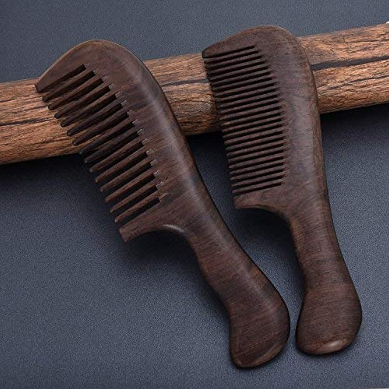産地溶接学生Black Sandalwood Hair Comb, Pack of 2 Anti-static 8 inches Wooden Comb Set with Natural Aroma, A Standard Comb...