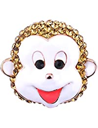 GuDeKe ジュエリー アクセサリー かわいい 猿 [さる] モンキー 笑顔 ブローチ ラペルピン