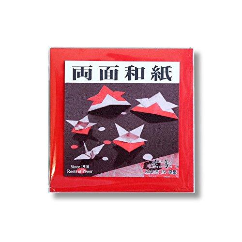 京の象 2-393 両面和紙折り紙 7.5cm角 赤/金 25枚入
