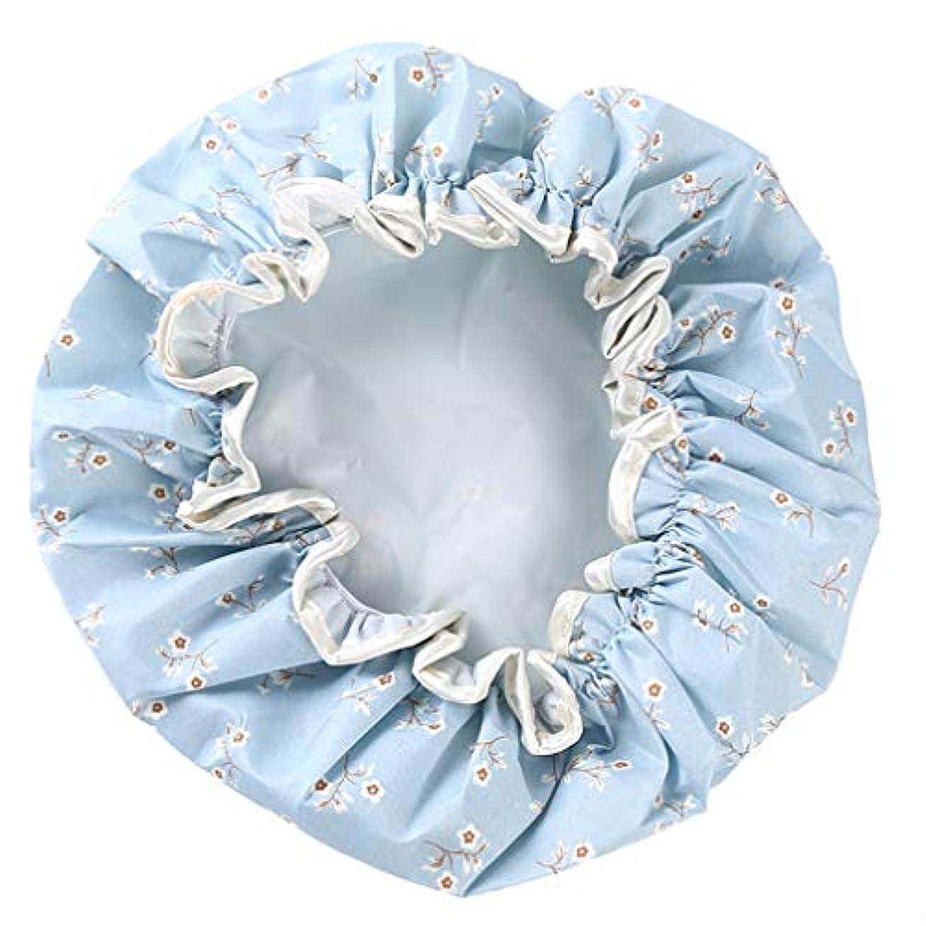 ラテン審判撤回するNoonlity シャワーキャップ 防水帽 髪濡れ防止 レディース ヘアーキャップ 再使用可能 お風呂 温泉 ブルー