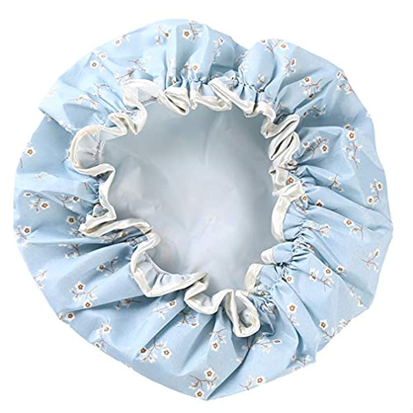 ブッシュ問題どこでもNoonlity シャワーキャップ 防水帽 髪濡れ防止 レディース ヘアーキャップ 再使用可能 お風呂 温泉 ブルー