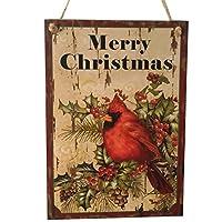 TINKSKY ハンギングボード クリスマスツリーハンギング 看板 装飾 木製の看板 クリスマス飾り 鳥