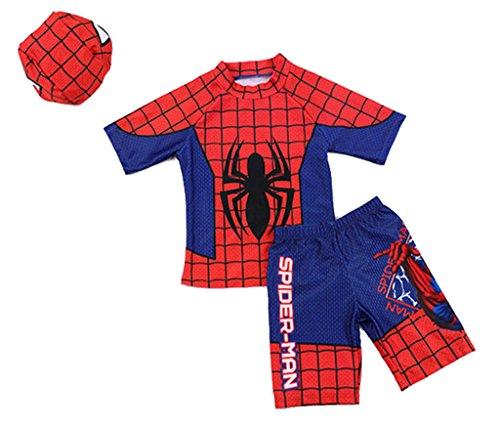 3点セット(水着上、水着下、帽子)スパイダーマン 水着 子供...