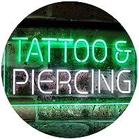 Tattoo Piercing Get Inked Shop Open Dual LED看板 ネオンプレート サイン 標識 White & Green 300mm x 210mm st6s32-i2484-wg