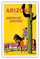 アリゾナ州 - アメリカン航空 - 馬に乗ってライダー - サワロサボテン、アリゾナ州の州花 - ビンテージな航空会社のポスター によって作成された フレッド・ルーデケンス c.1960s - アートポスター - 31cm x 46cm