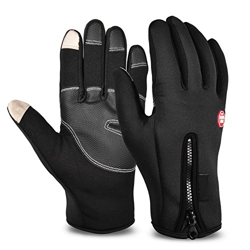 VBIGER メンズ トレッキング グローブ 裏起毛 保温 冬 アウトドア タッチパネル対応 防寒 手袋(ブラック, M)