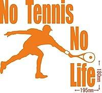 カッティングステッカー No Tennis No Life (テニス)・5 約180mm×約195mm オレンジ 橙