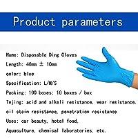 ニトリル使い捨て手袋、パウダーフリー、ラテックスフリー手袋 - 滅菌済み、食品安全、テクスチャード加工、便利なディスペンサーパック100個 - S-L (Color : Blue, Size : M)