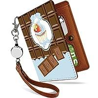 パスケース リール付き 板チョコ ケーキ ライトブルー チョコ 二つ折り 定期入れ 2枚 3枚 4枚 カードケース カード入れ チョコ チョコレート [板チョコ ケーキ ライトブルー/ps]