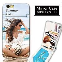 301-sanmaruichi- iPhone5s iPhone5 ケース iPhoneSE ケース ミラーケース 鏡付き ミラー付き カード収納 おしゃれ サマーガール フォト 外国人女性 海 ビーチ 夏 A