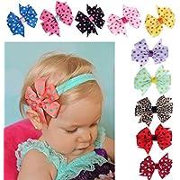 Zesda 10 Pcs Kids Baby Headband Bowknot Hair Wrap Hairband Photography Props
