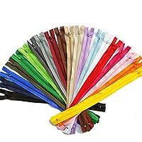 Chenkou Craft 20色以上のナイロンコイルジッパーズジッパーキットテーラーミシンツールクラフトミックスアロートバルクロット 40個入 (30cm)