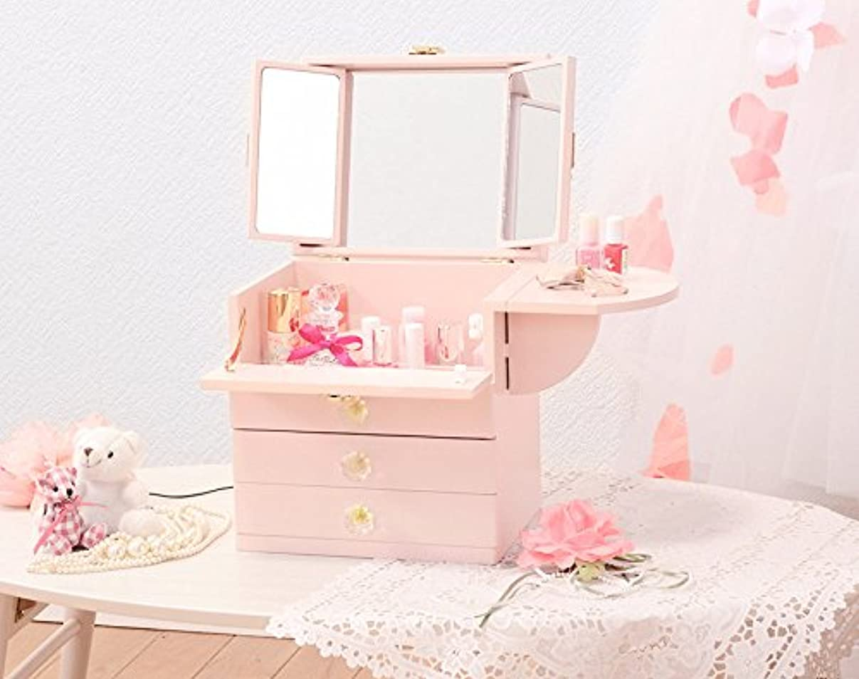 コーナー消費する市の中心部コスメボックス 化粧ボックス ジュエリーボックス コスメ収納 収納ボックス 化粧台 3面鏡 完成品 折りたたみ式 軽量 ピンク