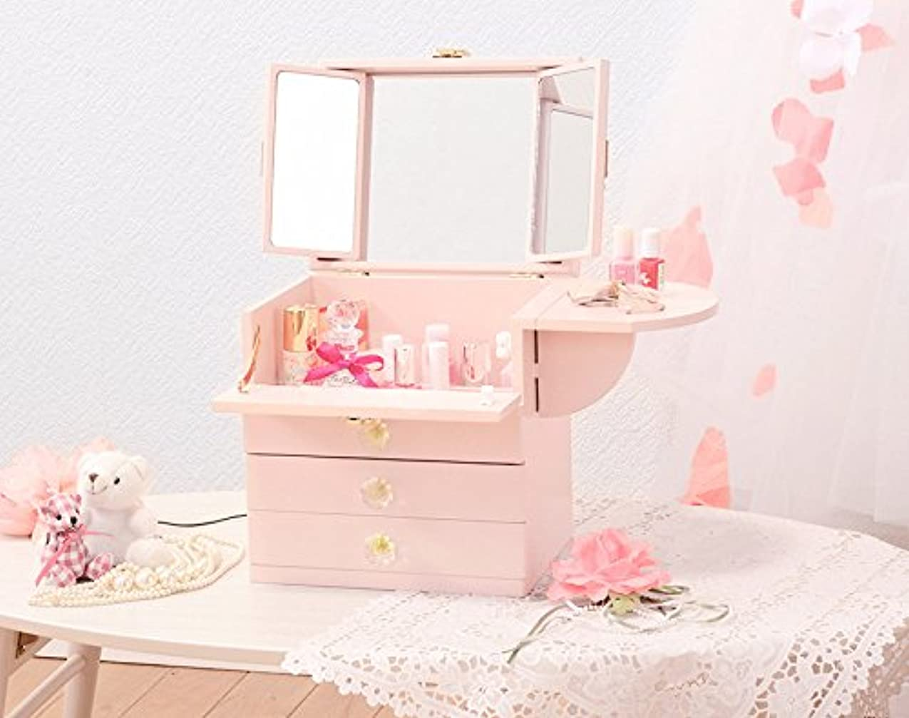 り臭い不十分なコスメボックス 化粧ボックス ジュエリーボックス コスメ収納 収納ボックス 化粧台 3面鏡 完成品 折りたたみ式 軽量 ピンク