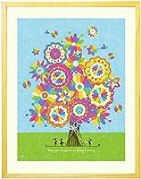 結婚記念日 結婚祝い 絵画アート 「幸せの花束 虹色」 【名前入れ可・Sサイズ】 花 プレゼント おしゃれ 人気ランキング 1年目 10年目 友人 友達 ギフト