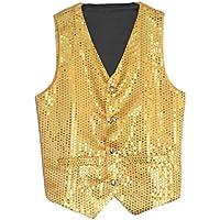 Aiko Fashion Yellow/Gold Unisex Sequin Vest Waistcoat Dance Party Show Costume Mens Womens Boys Girls
