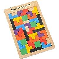 知育 玩具 モンテッソーリ 幼児 子供 教育 教材 木のおもちゃ シリンダー ブロック パズル 木製 視覚 認識 器用 数遊び 幾何学 認知 数字 時計 脳 活性化 はめこみ パズル 棒さし (テトリス)