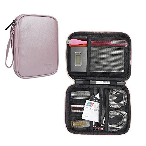 BUBM HDD保管バッグ ポータブル ハードディスク モバイルバッテリー usbメモリ ケーブル類 対応 衝撃吸収 ハンドル付き ピンク