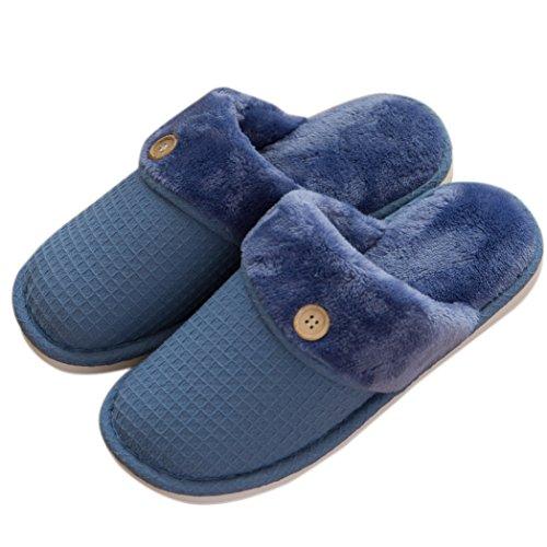 Mianshe 吸湿発熱保温あったか ルームシューズ ワッフル織 防寒スリッパ 洗える もこもこ 滑り止め 消音 男女兼用 秋冬用 来客用 ブルー XL