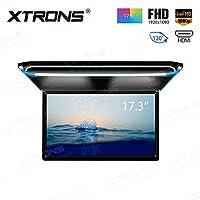 (CM173HD)XTRONS 最新 17.3インチ 大画面 フリップダウンモニター 16:9 FHD 1920x1080 解像度 超薄 HDMI対応 1080Pビデオ対応 外部入力 ドア連動 水平開閉130度 USB・SD