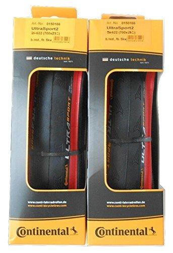2本セット Continental(コンチネンタル) UltraSport2 レッド ウルトラスポーツ2 700c クリンチャー 赤 (700×25c) [並行輸入品]