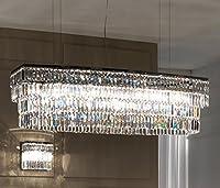 "Yue Jia Luxury Contemporary Modern島クリスタルシャンデリアoverテーブルの照明器具ダイニングリビングルームl47"" X w13.8"" X h15.7"""