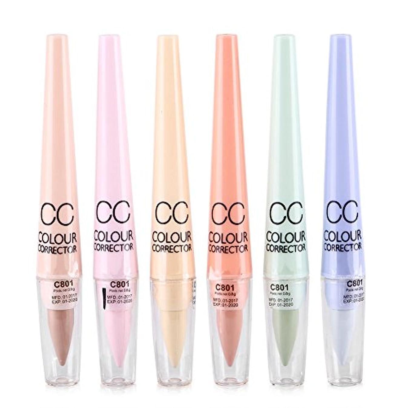 消費するアクセス保護する6本/セット化粧品CCカラーコンシーラーの目ダークサークルスポット鈍さ正しいペンシル蛍光ペン