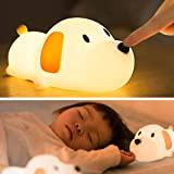 LED Kids Night Light, Cute Puppy Soft Silicone Baby Nursery Lamp-USB Rechargeable, Color Temperature and Brightness Adjustabl