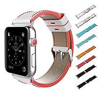 Apple Watch Strap 38/40/42 / 44mm、ツートーンカラーの本革交換バンド、Apple Watchシリーズ4/3/2/1 iwatchと互換性があります,WhiteRed,38/40mm