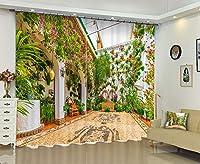 現代の3Dデジタル印刷暖かい花の壁のカーテン/ 2つのパネルのカーテン/遮光/食堂の研究室/オフィス,B,2.64x2.41cm
