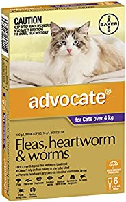 Advocate Flea, Heartworm and Worm Control for Large Cats, Purple, 6 Pack