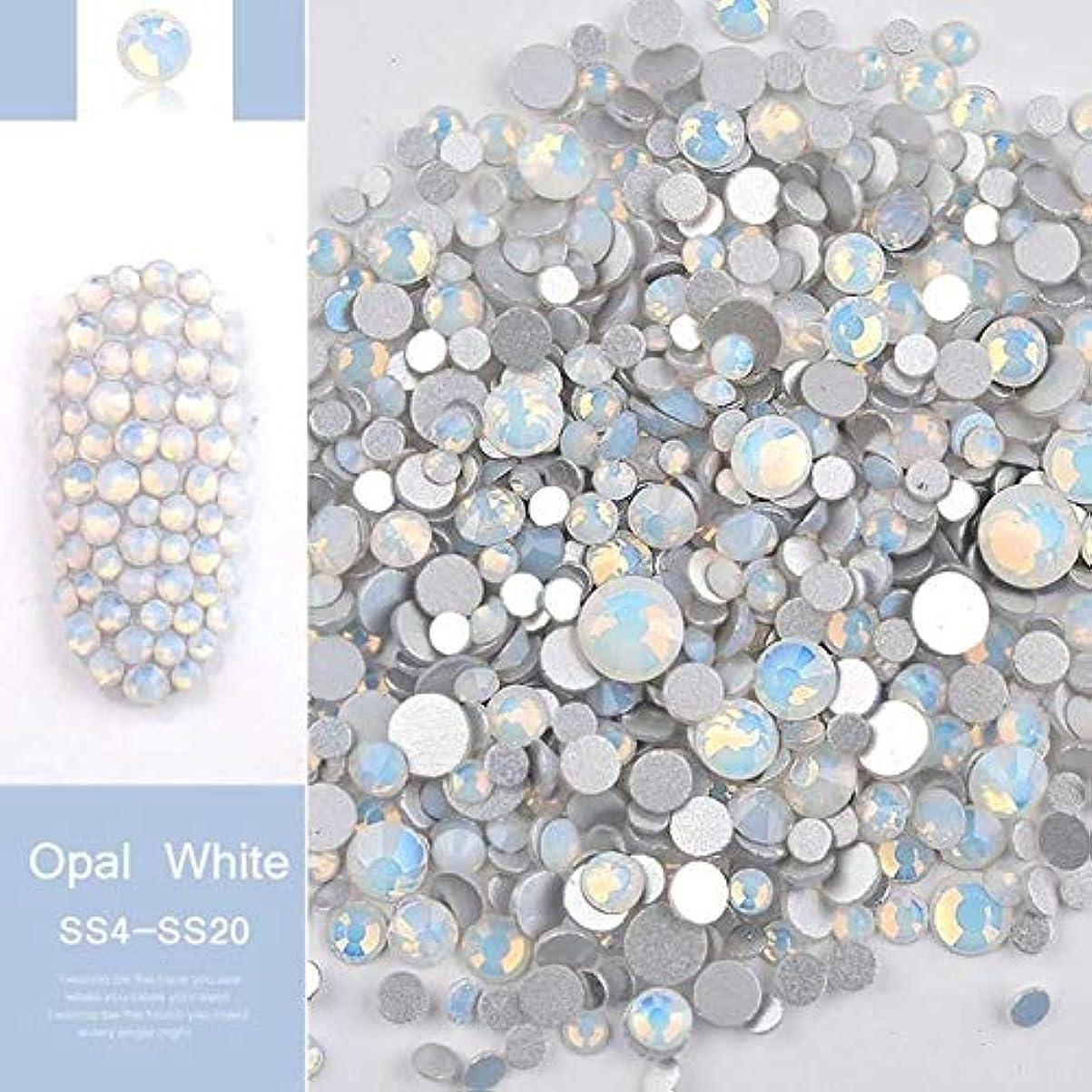 手足ビューティーケア 1パックミックスサイズ(SS4-SS20)クリスタルカラフルなオパールネイルアートラインストーンの装飾キラキラの宝石3Dマニキュアアクセサリーツール(ホワイト) (色 : 白)