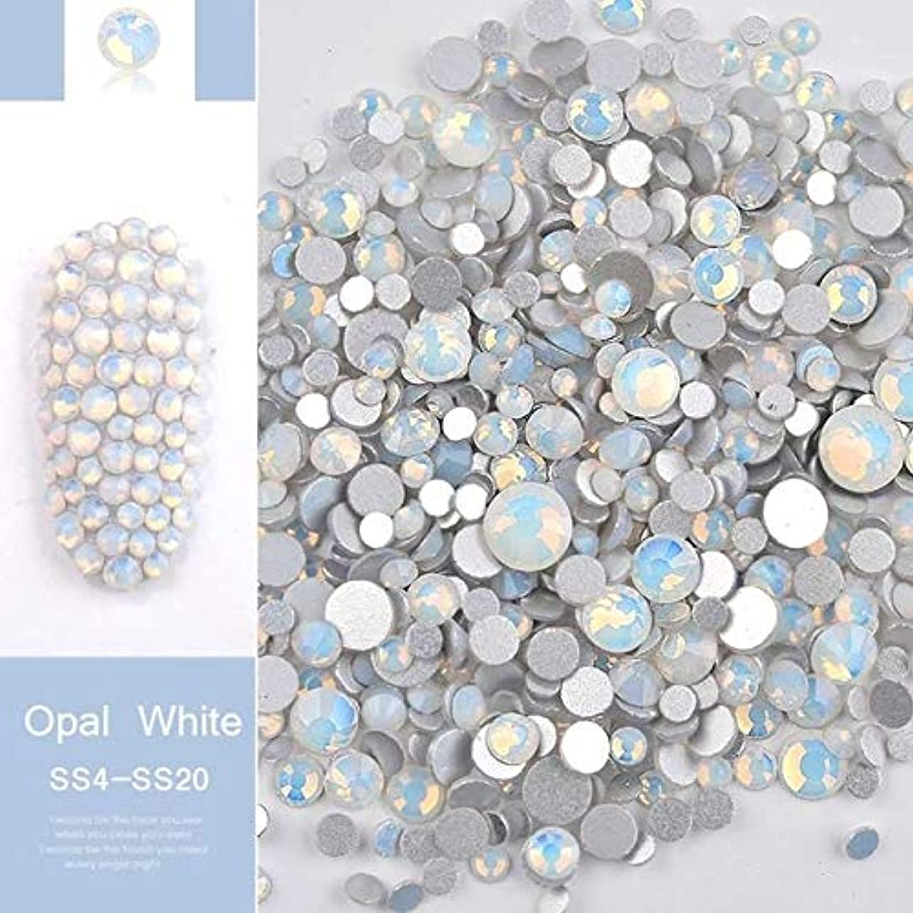 麻痺落ち着いた教義手足ビューティーケア 1パックミックスサイズ(SS4-SS20)クリスタルカラフルなオパールネイルアートラインストーンの装飾キラキラの宝石3Dマニキュアアクセサリーツール(ホワイト) (色 : 白)