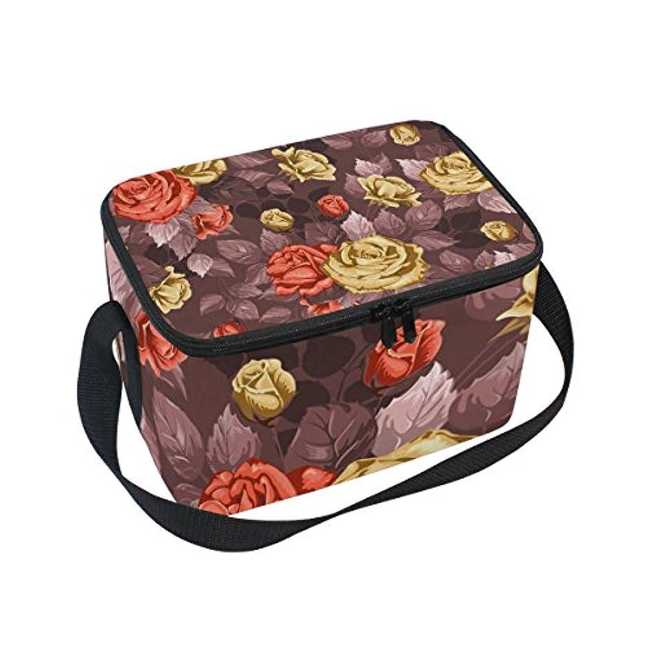 フルーツ野菜デッドロック効果クーラーバッグ クーラーボックス ソフトクーラ 冷蔵ボックス キャンプ用品 油絵 赤と金色薔薇柄 保冷保温 大容量 肩掛け お花見 アウトドア
