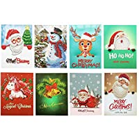 Foyute クリスマスカード 5D DIY ダイヤモンドペインティング ラウンドドリル メリークリスマス グリーティングカード 8パック