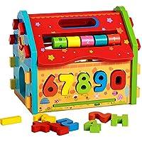 lomalson Baby Shape Sorting Housesモンテッソーリ教育玩具数学おもちゃ赤ちゃん子供のギフト、ノベルティ教育数学ゲーム木製玩具